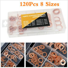 120X Car Engine 8 Sizes Solid Copper Crush Washers Seal Flat Ring 6-20mm Washers