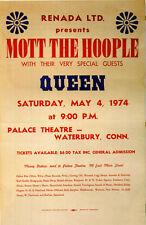 QUEEN / MOTT THE HOOPLE Concert Window Poster 1974 Connecticut RARE - reprint