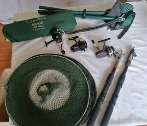 Mixed Lot Fishing Equipment Reels, Stool, Net, Rods and foldaway table