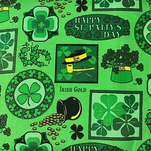 St Patrick's Day Lucky Clover Metallic Gold Sewing Quilting Cotton Fabric 1/2 YD