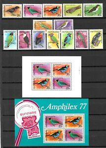 Suriname 1977 Wildlife Fauna Birds Vögel Oiseaux compl. set + 2 MS MNH