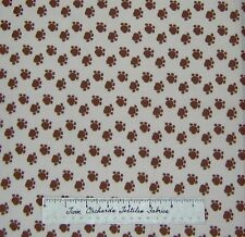 Brown Cat Dog Paw Print Toss on Beige Meow - Newcastle Fabric Cotton 34""