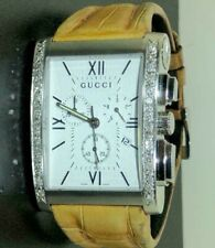 GUCCI REAL DIAMOND 8600M CHRONOGRAPH WATCH AUTHENTIC MENS SWISS MADE RARE REAL