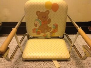 Vtg Graco Tot-Loc Clip On Table Top folding High Chair Booster Seat Teddy Bears