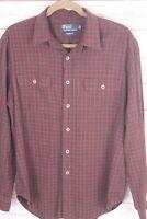 Polo Ralph Lauren Mens Large L Classic Red Tartan Plaid Shirt Christmas