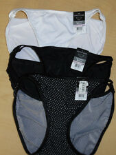 3 Vanity Fair String Bikini Panty Nylon Illumination 6 M 18108 Black White Dots