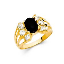 Black CZ Cocktail Ring Solid 14k Yellow Gold Fashion Band Oval CZ Wide Fancy