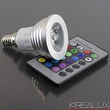 A078 faretto spot LED RGB attacco E14 220V 3W con telecomando