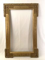 """Large Antique Early American Gold Gilt Wood Frame w/ Gesso Detail 15x27"""" window"""