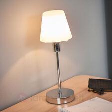 Tischleuchte Janett Touch-Dimmer Tischlampe Chrom Weiß Modern Nachttischlampe