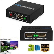 NEW 1 INPUT 2 OUTPUT HDMI SPLITTER 2 WAY SWITCH BOX Hub SUPPORT FULL HD 3D