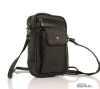 Mens Womens Small Faux Leather Manbag Phone Pouch Crossbody Shoulder Bag