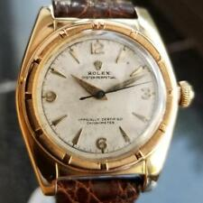 Rolex Signed Billy Graham to Lee Fisher 1950 Solid Gold Bubbleback Auto LV264