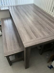 Modern Wood Stone Grey Dining Table and 2 Benches set