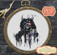 Watercolor Darth Vader Cross stitch PDF pattern Modern Embroidery Hoop Art #014