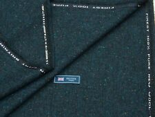 100% WOOL TWEED FABRIC, MIX BLUE/BLACK DONEGAL FLECK - MADE IN ENGLAND 2METRES