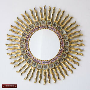 "Sunburst Wall Mirror 23.6"", Round Mirror for wall decor, Reverse Painted glass"