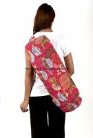 Indian Kantha Quilted Yoga Pilates Mat Carrier Bag Exercise Gym Fitness Backpack