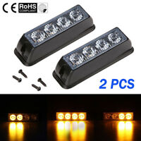 2x 12-24V 4 LED Orange Amber Light Lamp Recovery Flashing Breakdown Strobe Grill