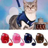 Reflective Escape Proof Cat Harness Leash Large Kitten Walking Jacket Clothes US