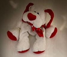 "White & Red Plush Puppy Dog Stuffed Animal Soft Floppy Toy 12"" Heart Bow"