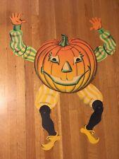 Vintage Beistle Jointed Goblin Jack O Lantern Halloween Die-Cut Paper Decoration