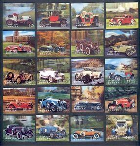 BHUTAN, THREE EXCELLENT 3-D SETS, REDUCED PRICE, Cars, Animals, Butterflies MNH!