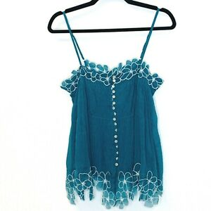 Peppe Peluso M Teal Floral Trim Pleated Cami Tank Top Pearlized Buttons