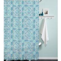 Morocco Blue PEVA Vinyl Shower Curtain India Ink Aqua Teal Medallion