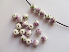 10pz  perline ceramica tondo 10mm  con fiore viola