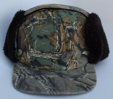 Advantage Camo Hunters Winter Baseball Cap Hat with Furry Ear Flaps Size Medium