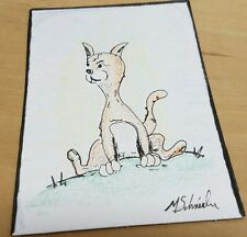 M.Schneider ORIGINAL pen ink folk art ACEO kitty Cat on the Lawn Color Pencil