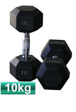 2x 10KG RUBBER COATED HEX DUMBBELL WEIGHTS CHROME HANDLE PLATE GYM BODYBUILDING