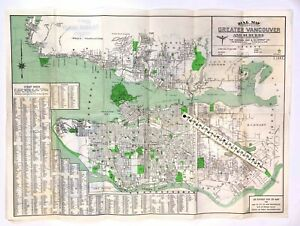 1945 Dial Sectional Map & Street Directory Vancouver Fraser Valley BC Canada