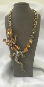 Ritzy Crystal Large Lizard  Crystal Necklace