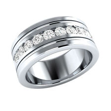 1ct Round-Cut Delicated Diamond Men's Engagement Band Ring 14k White Gold Over