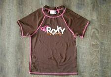 roxy swim girls rashguard top sz 7 kids GUC brown pink detail uv protection