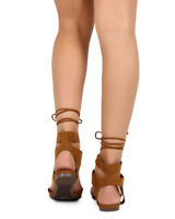 New Women Breckelles Deanna-01 Suede Pointy Toe D'orsay Wrap Gladiator Flat Size