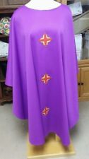 LITURICAL CLERGY CHASUBLE VESTMENT PURPLE W/CROSS DESIGNS CUSTOM MADE