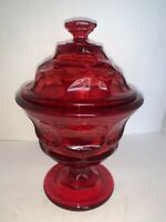 Vintage Fostoria Argus Ruby Red Glass #2770 Footed Candy Dish & Lid