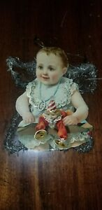 ANTIQUE VICTORIAN TINSEL BABY & PUNCH JUDY DIE CUT SCRAP CHRISTMAS ORNAMENT