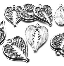 8 x 30mm Quality Wing Feather Heart Charm Pendant Silver Plated, Jewellery Craft