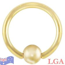 GOLD PLATED CAPTIVE RING BALL HOOP NOSE 20g 6mm x1 CBR FREE POST C