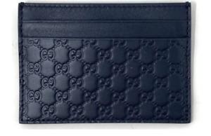 New Gucci Micro Guccissima Monogram GG Logo Leather Navy Card Holder