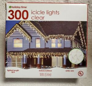 Clear Icicle Lights 300 Count White Wire 18 ft  Lights
