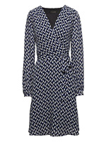 Banana Republic Print Wrap-Effect Fit-and-Flare Dress, Blue Print Sz 0 (84114)