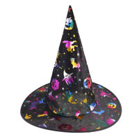 Satin Fabric Halloween Wizard Hat Witch Costume Hat for Boys & Girls