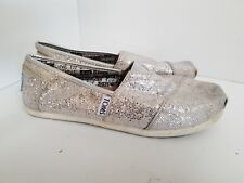 Toms Y2 Classic Glitter Light Flat Shoes Canvas Silver youth Shoes