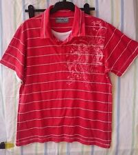 Mens T-Shirt By Next Red Size Large Mock Panel Graphic 100% Cotton