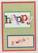 Blank Handmade Greeting Card ~ HAPPY BIRTHDAY on EMBOSSED HAPPY BIRTHDAY